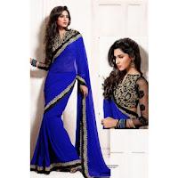 Shopclues :Buy Indian Designer Saree Blue at Rs.1499 :buytoearn