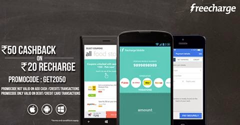 (Loot) Get Rs 50 Cashback on Recharge of Rs 20 only at Freecharge Android, iOS & Windows app