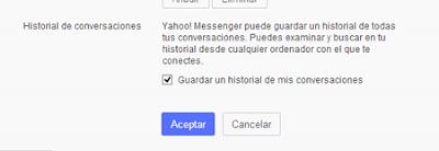 guardar historial de conversaciones en Yahoo