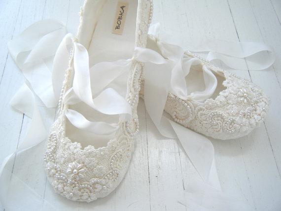 Shoes: Bridal Ballet Flats Shoe