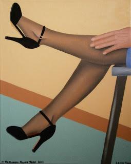A woman kicking her legs, wearing high heels