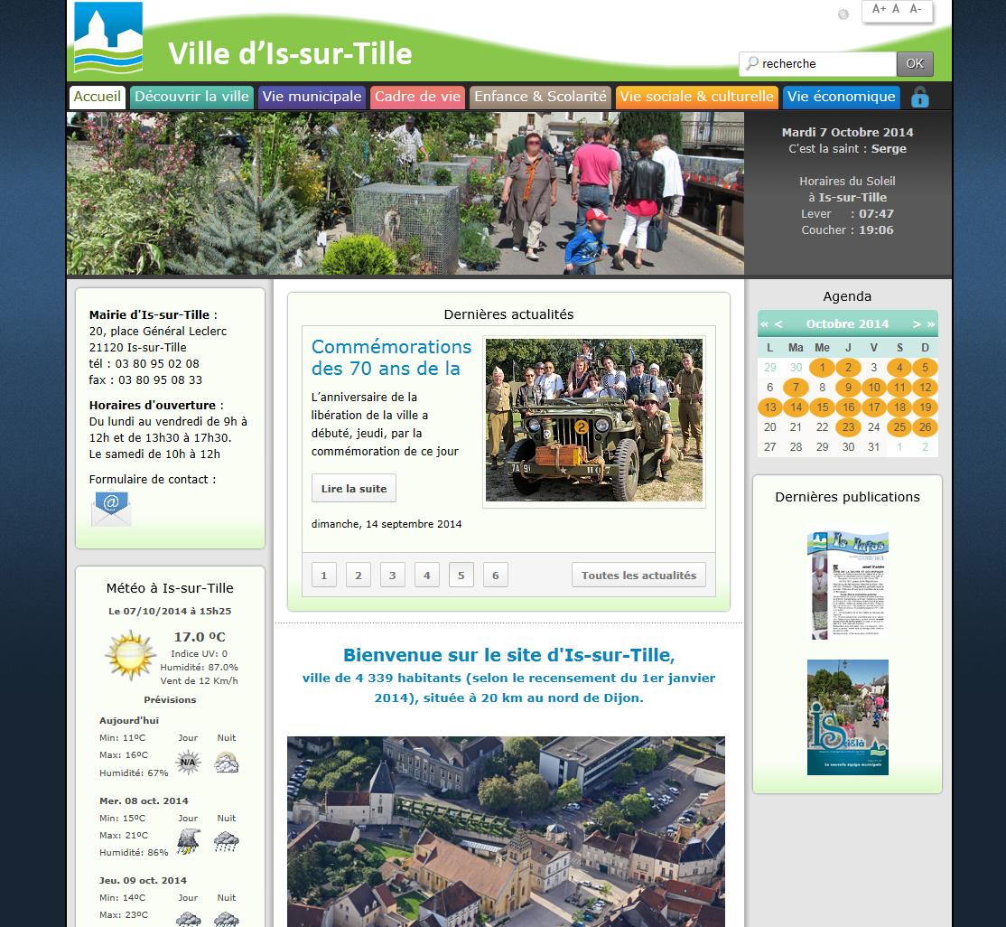 Apercu du nouveau site de la ville d'Is-sur-Tille