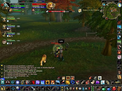 December 4th, 2006 - This shot has it all. Hunter with mana, Bubble-hearth, world LFG channel.