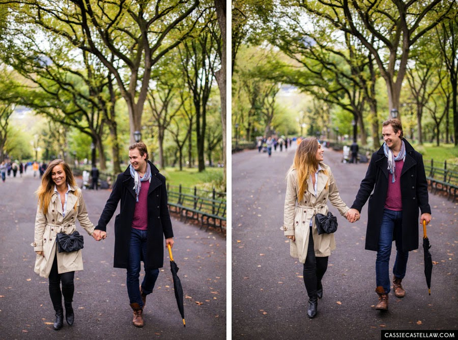 Walking under American Elms at The Mall, Lifestyle Engagement Session in the fall Central Park NYC - www.cassiecastellaw.com