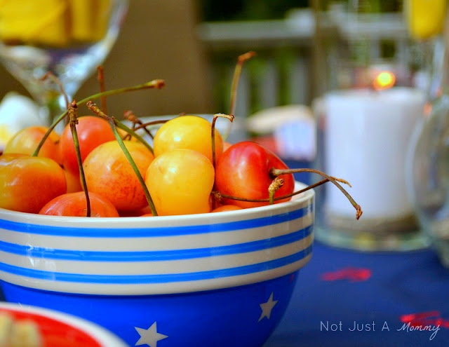 Starfish And Stripes: Nautical 4th Of July Tablescape cherry bowl
