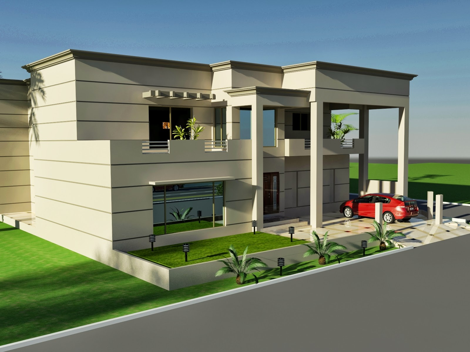 3d front 1 kanal house of design fornt for Canal front house plans
