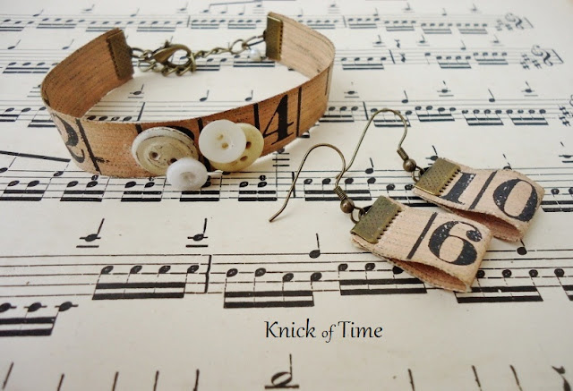 Repurposed Tape Measure and Button Bracelets/a repurposed and upcycled project/by KnickofTimeInteriors.blogspot.com