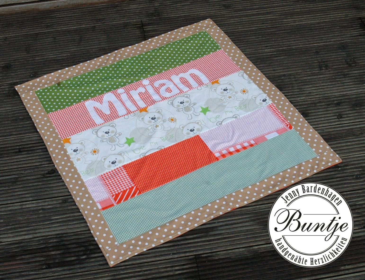 Kuscheldecke Decke Einschlagdecke Baby Name Geschenk Geburt Taufe Mädchen retro orange grün braun beige Baumwolle Fleece handmade Nähen Buntje