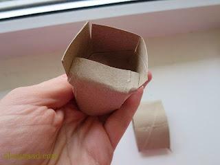 стаканчик, для рассады, из втулок, от, туалетной бумаги, горшочек для рассады, изготовление, как сделать, своими руками, аленин сад