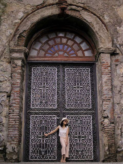 Crochet midrib top, culottes, pastel, lace up sandals, Paoay Church