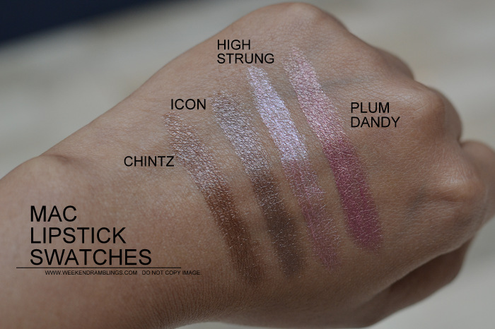 MAC Lipsticks Swatches Indian Darker Skin NC45 Makeup Beauty Blog Chintz Icon High Strung Plum Dandy