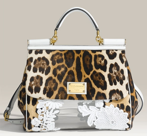 5d0c655387 Dolce   Gabbana  Miss Sicily Classic  Leopard Print Calf Hair Satchel