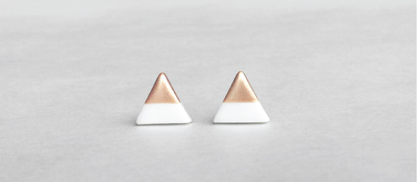 Triangle stud earrings by Amoorella on etsy