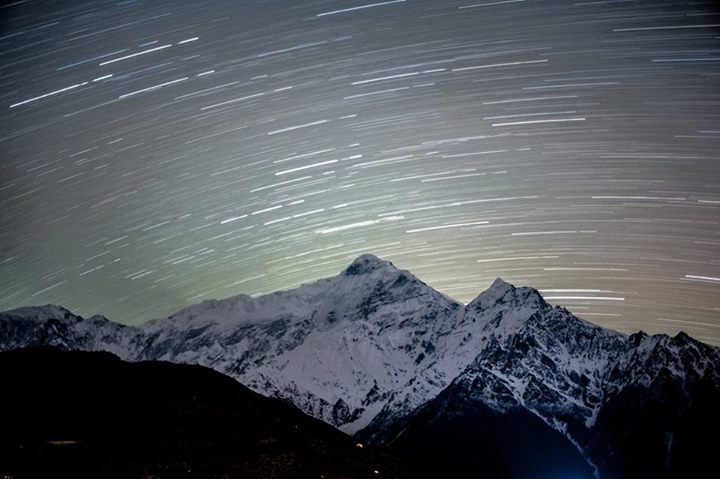 Star trail above Dhaulagiri from Dhaulagiri