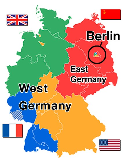 the city of berlin was jointly occupied by the allied powers and subdivided into four sectors the city of berlin was not considered to be part of the