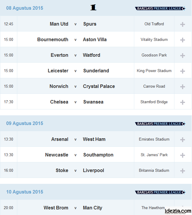 Jadwal Liga Inggris Pekan ke-1 08 09 10 Agustus 2015