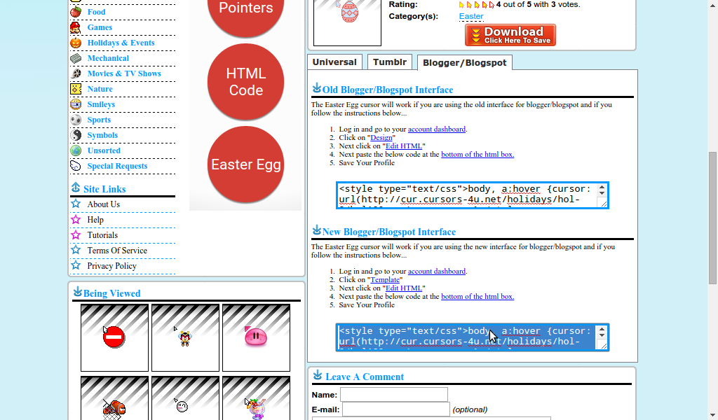 codes Easter cursor Blogspot