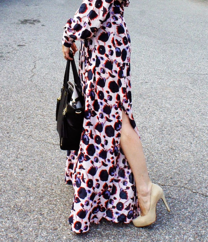H&M floral maxi dress, H&M handbag, H&M boston