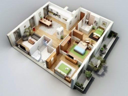 10 Denah Rumah Minimalis 3 Kamar Tidur  RumahOKE