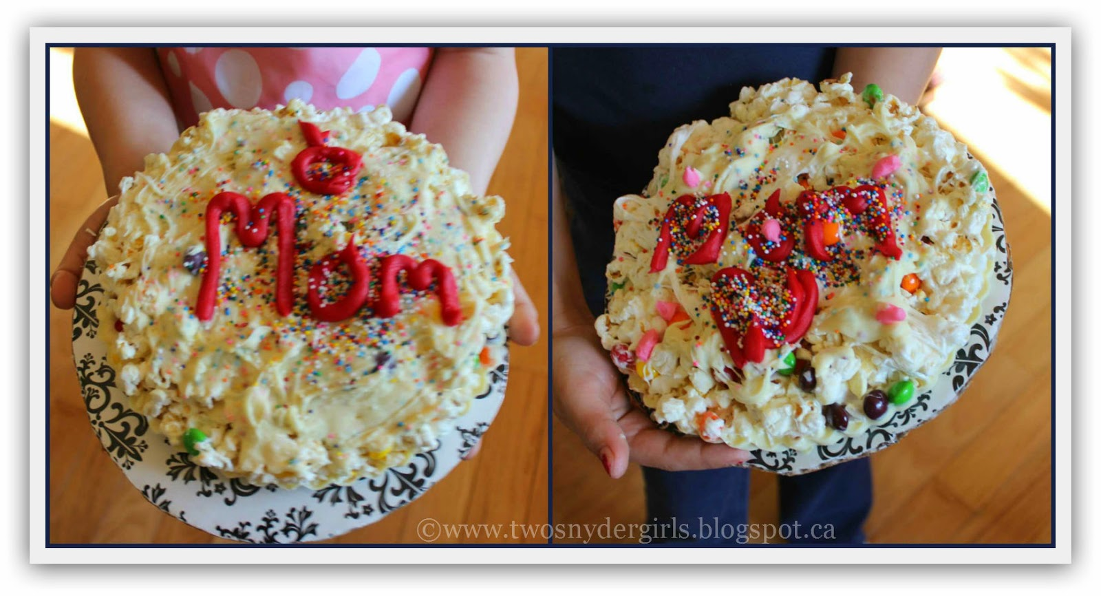 Two Popcorn Pizza with Mom written on them