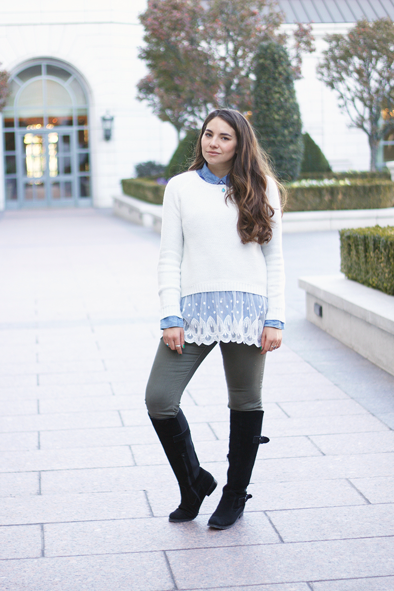 sweater with lace on the bottom