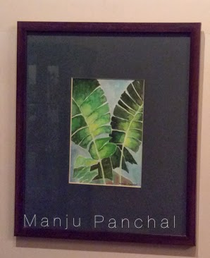 water colour painting of banana leaf by manju panchal