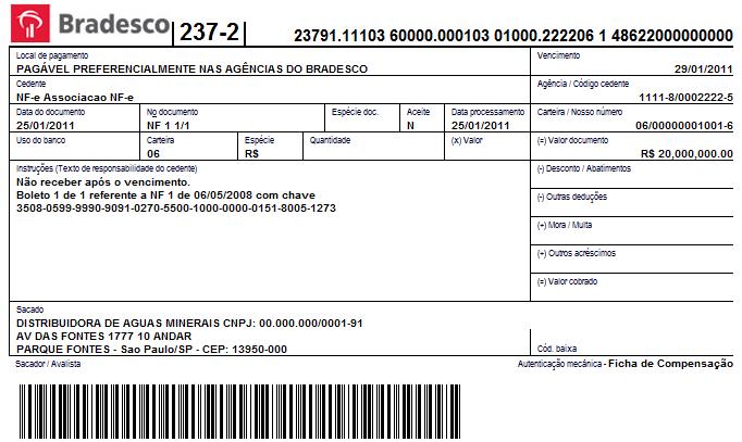 Boleto Bancario Account Deposit Screen