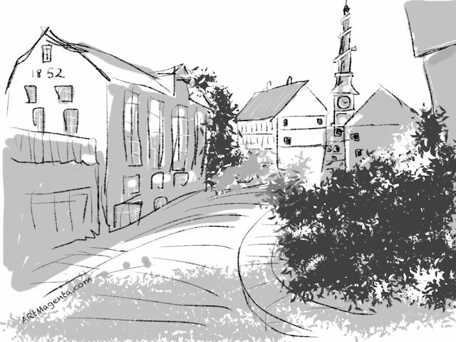 Vor Frelsers Kirke. A sketch drawn on iPad by Artmagenta.