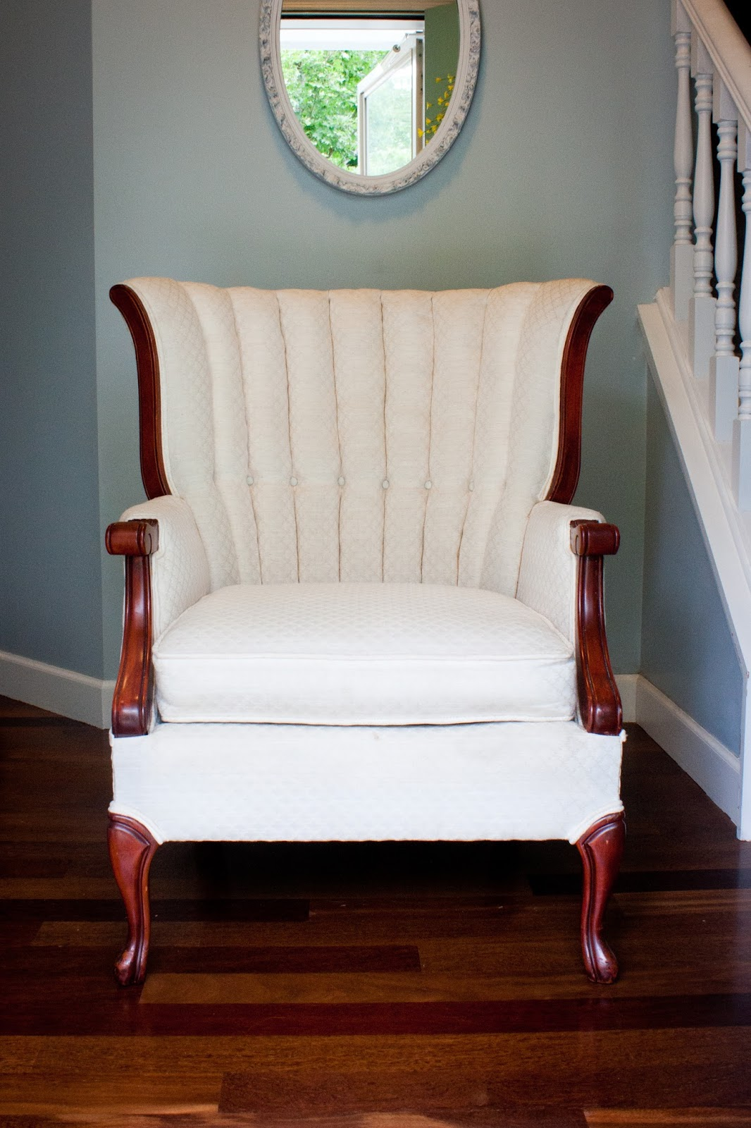 Wedding Rental MN   Vintage Furniture Rentals   Cream Upholstered Wingback  Chair   Prop Photoshoot Rental