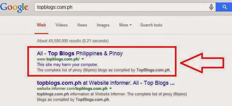 Top Blogs Philippines is Listed to Having Malware Infection