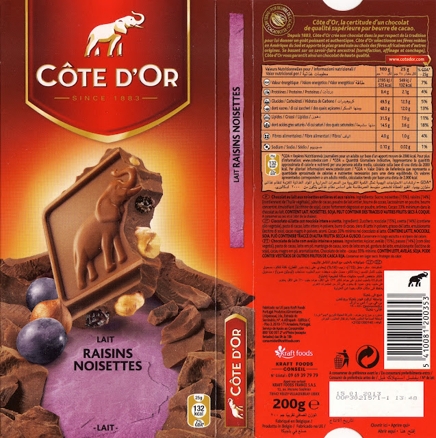 tablette de chocolat lait gourmand côte d'or lait raisins noisettes