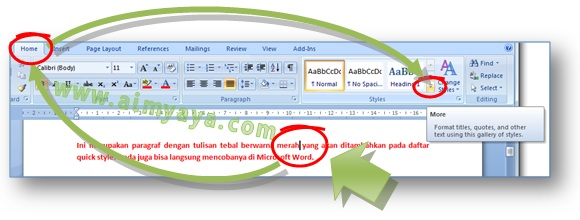 Gambar: Cara menambah style baru dengan cepat dengan menggunakan format tulisan / kalimat yang ada di dokumen Microsoft Word 2007