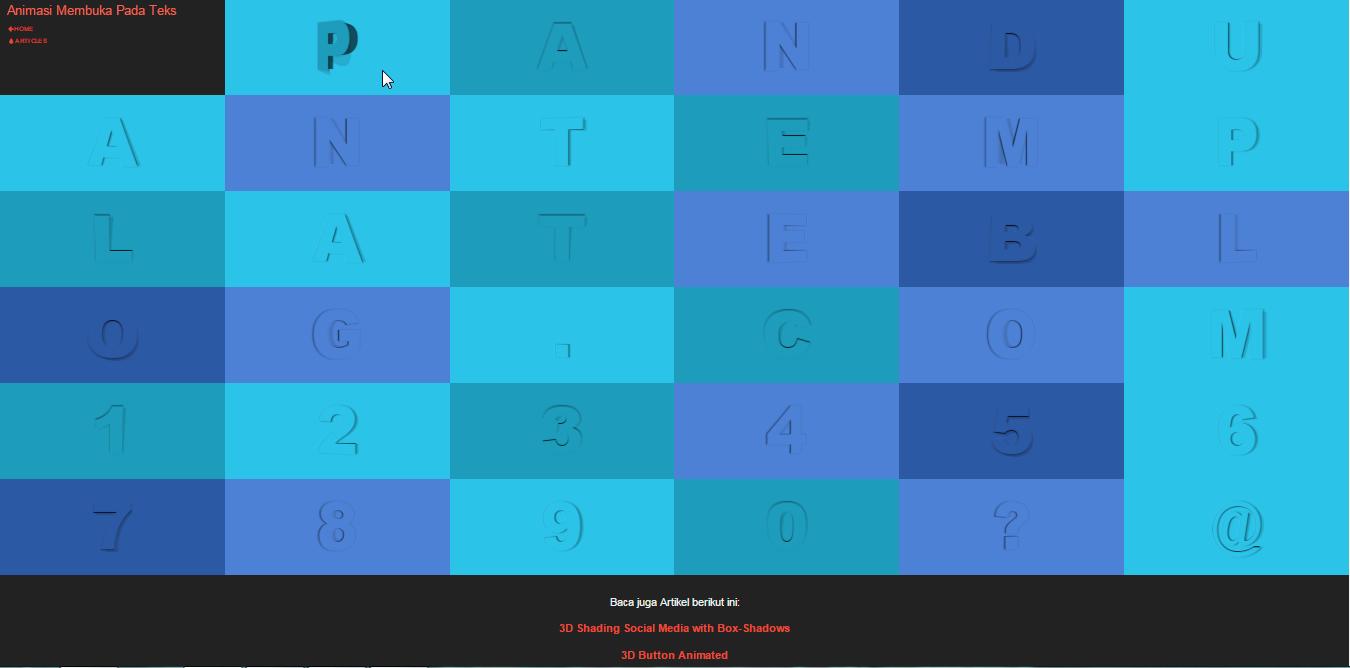 Membuat Efek 3D Membuka Pada Teks Dengan CSS