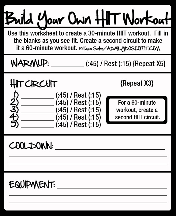 Make a high intensity interval workout for your next trip to the gym. This worksheet will guide you.