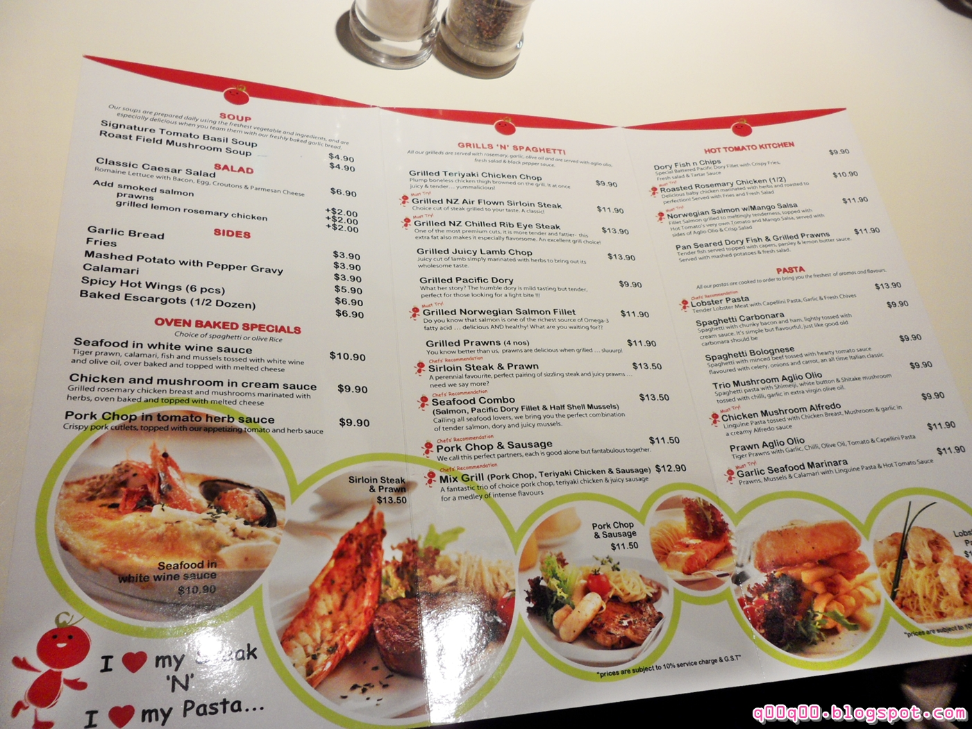 Tomato Cafe And Grill Menu