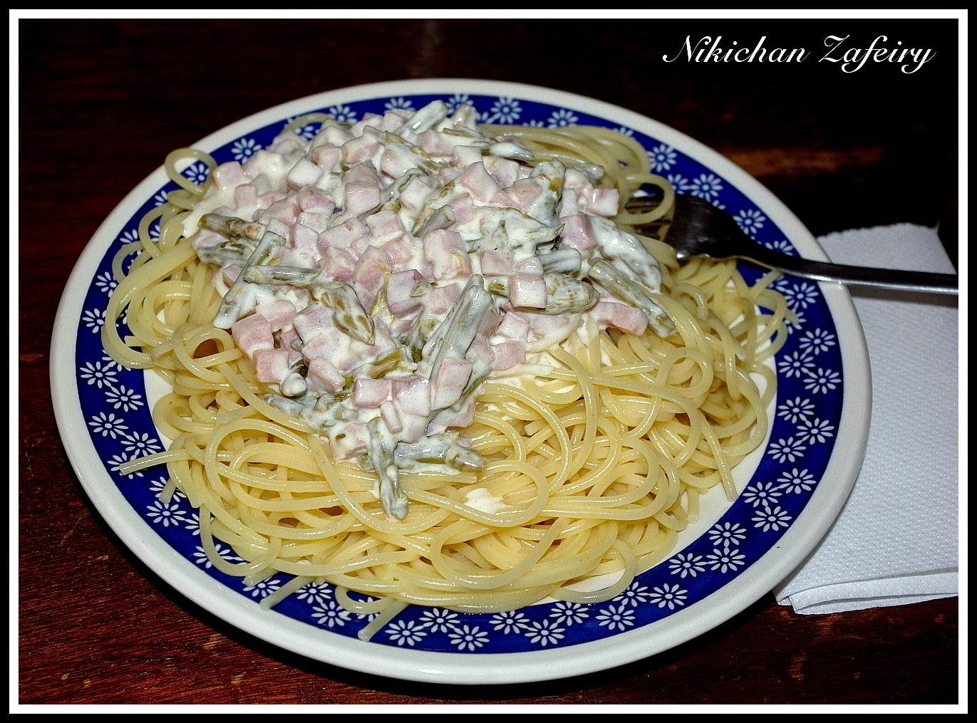Espagueti con Espárragos Trigueros y Jamón cocido en salsa de nata.