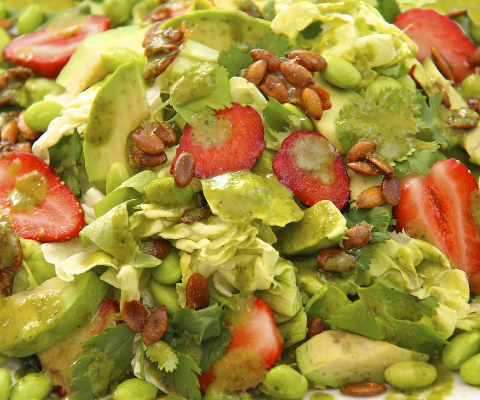 Butter Lettuce Salad w/ Strawberries, Avocado, Edamame, Double Roasted ...