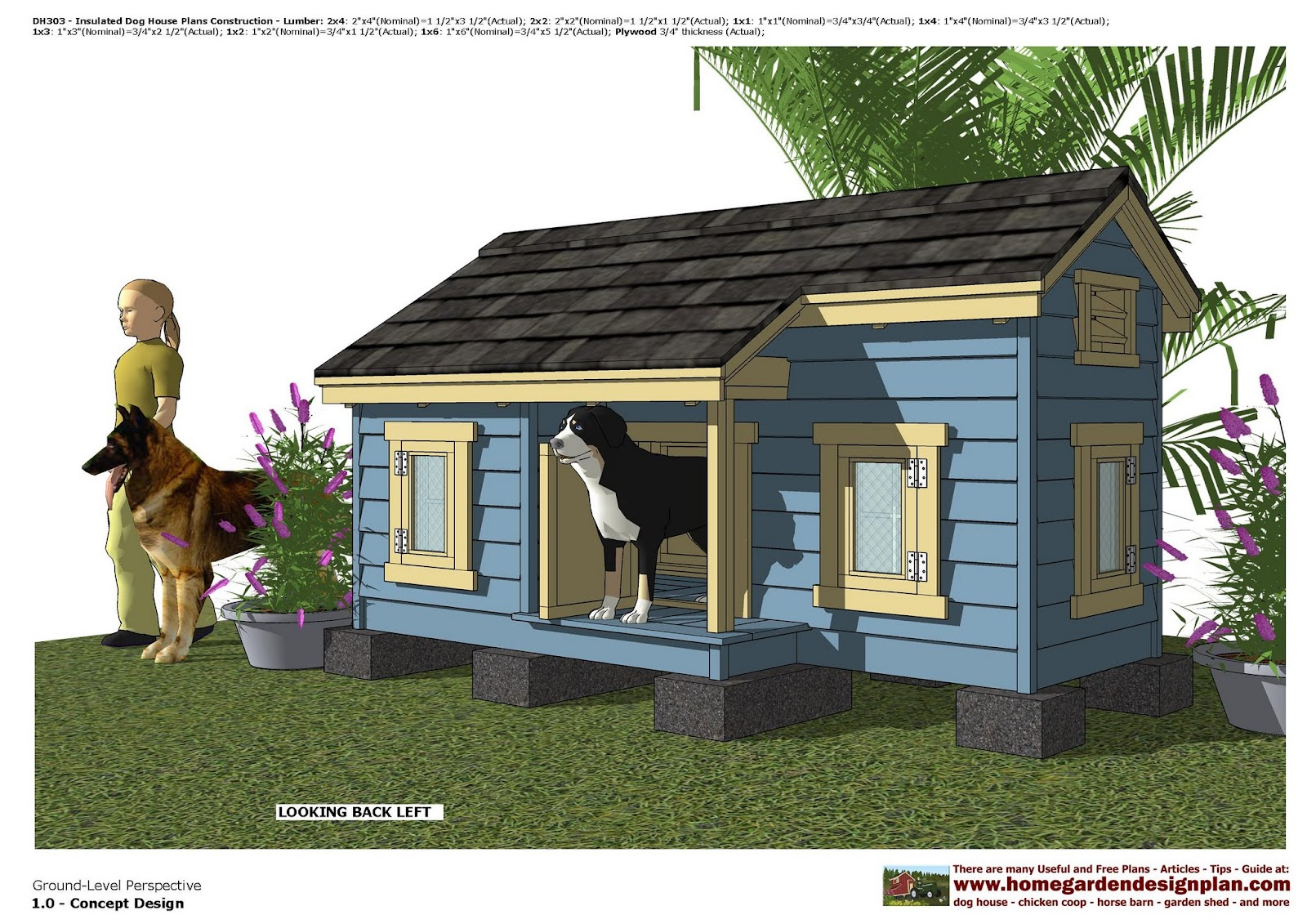 Home garden plans dh303 insulated dog house plans dog for Large insulated dog house