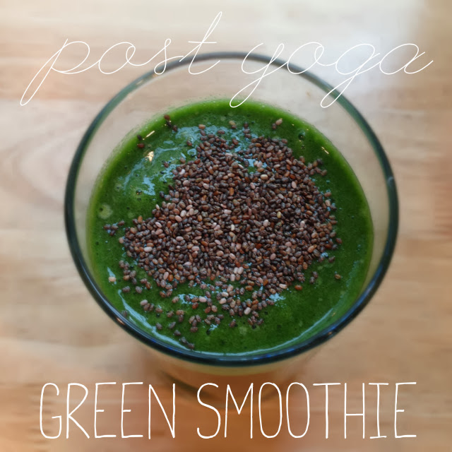 Green smoothie with kale, apple, ginger and frozen bananas