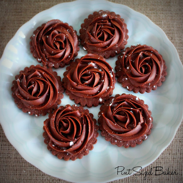 Chocolate Shortbread Cookies with chocolate buttercream. Super simple and beautiful!
