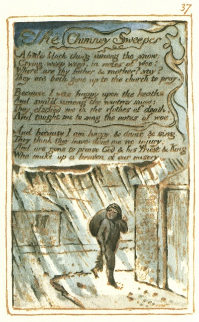 william blake the chimney sweeper and london London by william blake how the chimney-sweeper's cry every black'ning church appalls and the hapless soldier's sigh.