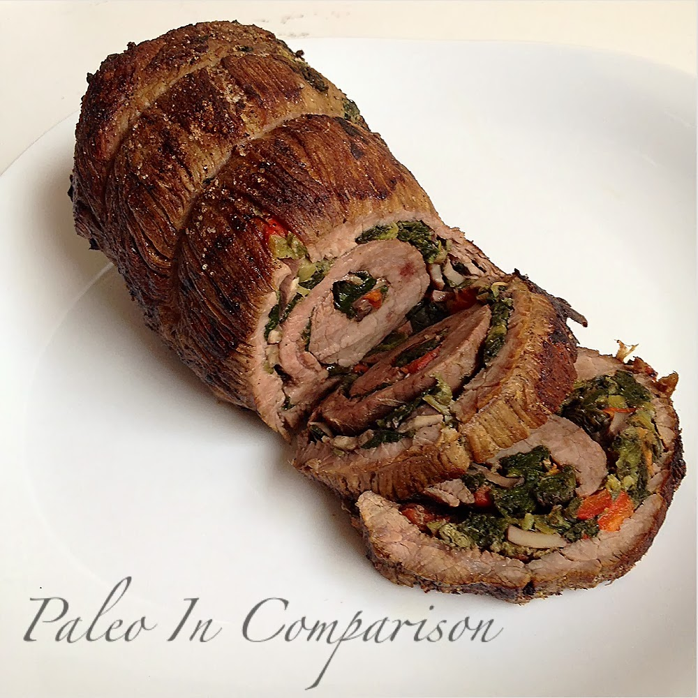 Paleo In Comparison: Mediterranean Stuffed Flank Steak