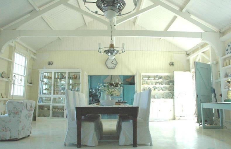 Coastal cottage beach house with white washed woods
