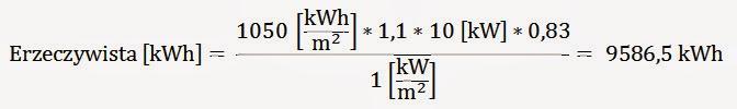 wzór na obliczenie produkcji energii z instalacji fotowoltaicznej przykład