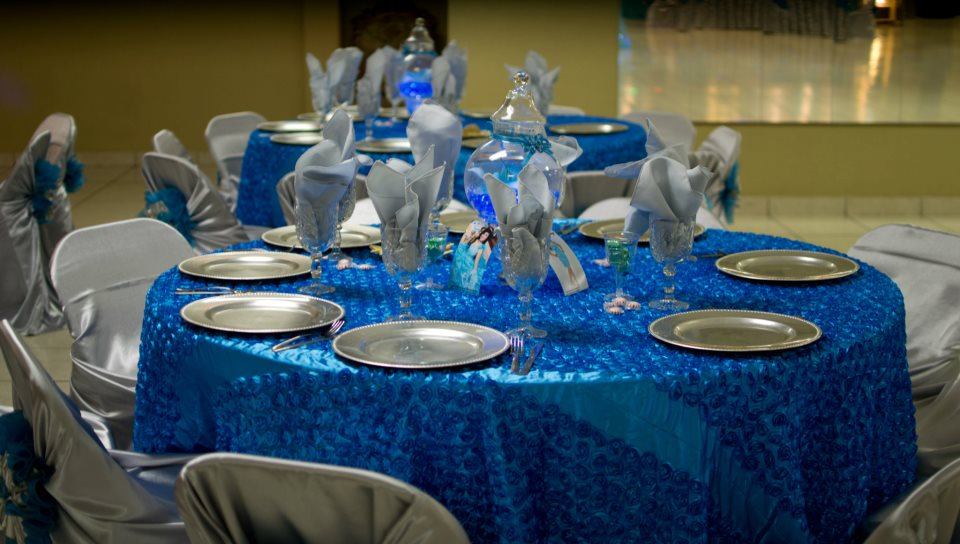 as for the table covers  Quinceanera Table Decorations Blue