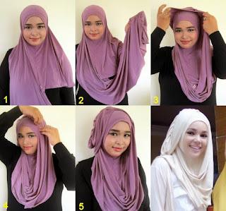 Gambar Tutorial Memakai Hijab Syari Dewi Sandra Gaya Jilbab Terbaru
