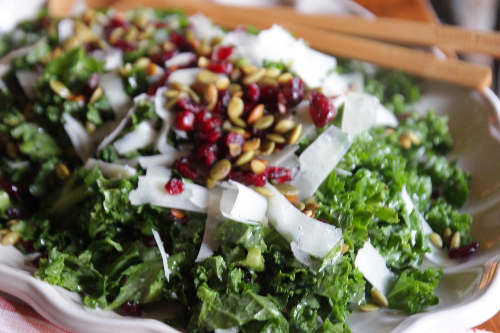 recipe: kale salad with cranberries and pumpkin seeds [2]
