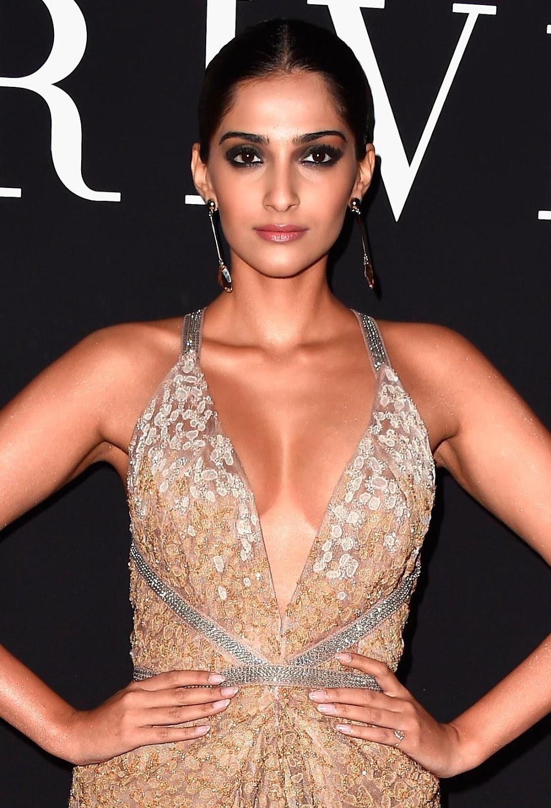 sonam kapoor sexiest cleavage show at giorgio armani s prive fashion