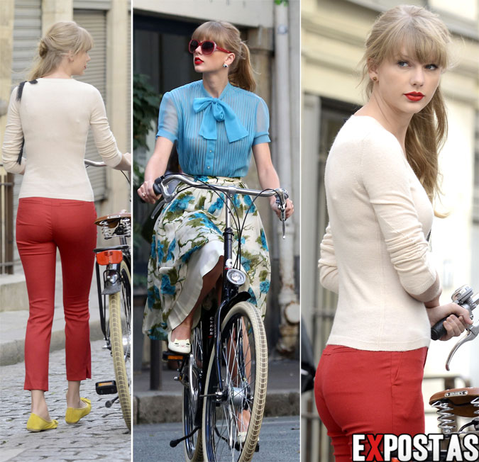 "Taylor Swift gravando videoclipe de ""Begin Again"" em Paris - 01 de Outubro de 2012"