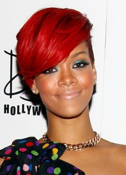 short red hair with a shaved bit at the side in a similar style to